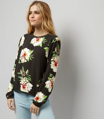 Cameo Rose Black Floral Print Long Sleeve Sweater