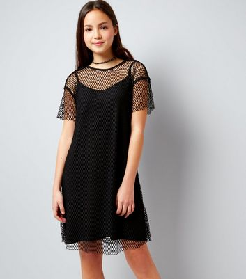 Teens Black Wide Mesh T-Shirt Dress