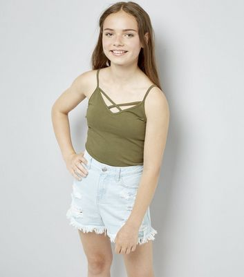 Teens Khaki Lattice Front Cami
