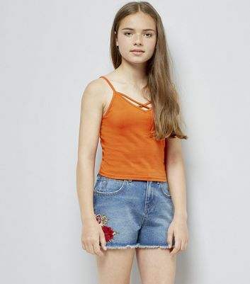 Teens Bright Orange Cross Front Cami