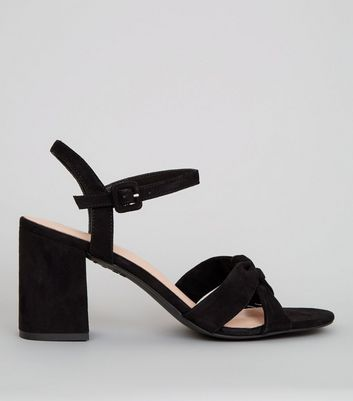 Black Comfort Suedette Cross Strap Block Heels