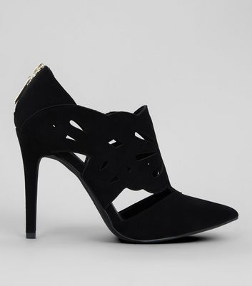 Black Suedette Lazercut Shoe Boot