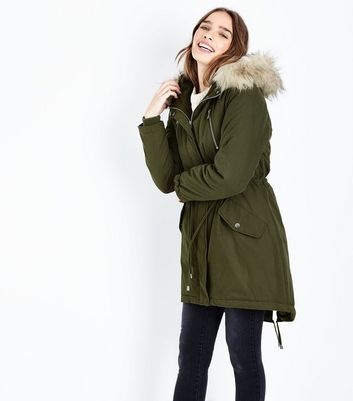 Khaki Faux Fur Trim Hooded Fishtail Parka