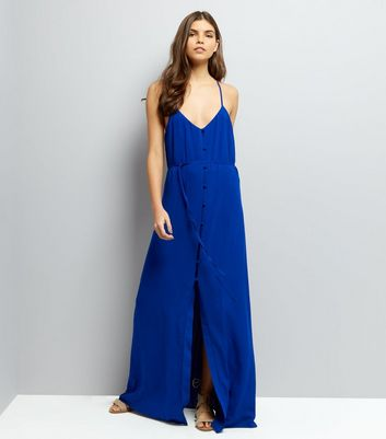 Blue Button Front Maxi Dress