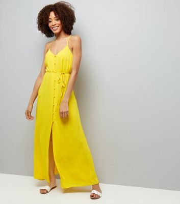Yellow Button Front Maxi Dress