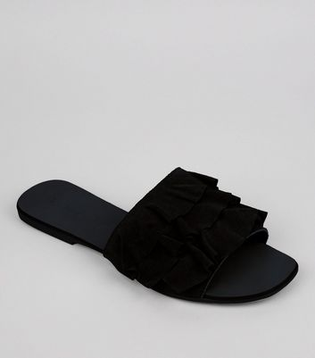 Black Suede Frill Strap Mules