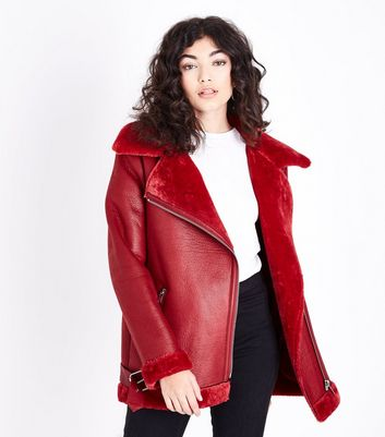 Red Faux Fur Lined Aviator Jacket