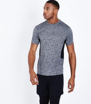 Grey Contrast Side Sports T-Shirt