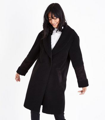 Black Faux Shearling Longline Coat