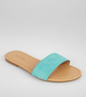 Mint Green Suedette Mules