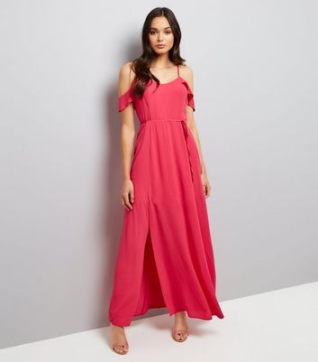 Pink Frill Strap Cold Shoulder Maxi Dress