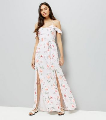 White Floral Print Cold Shoulder Maxi Dress