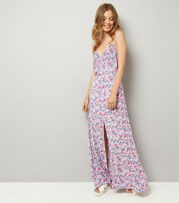 Blue Floral Print Lattice Back Maxi Dress