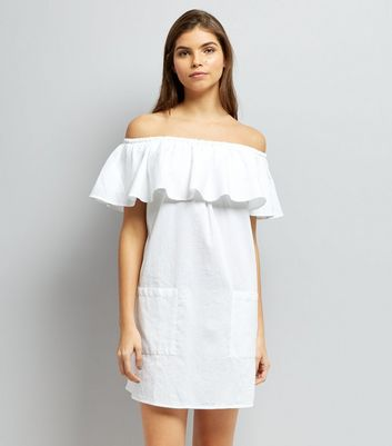 White Frill Trim Bardot Neck Dress