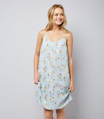 Pale Blue Floral Jaquard Slip Dress