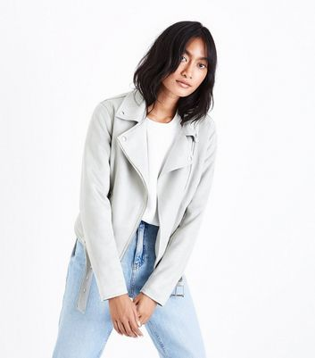 Light Green Suedette Biker Jacket
