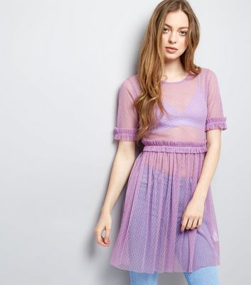 Purple Spot Mesh Frill Trim Skater Dress