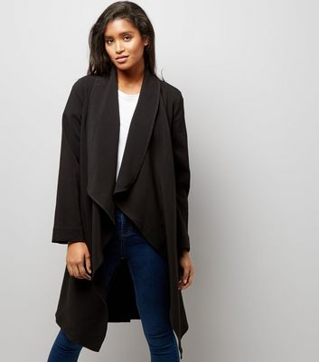 Black Waterfall Belted Duster Coat