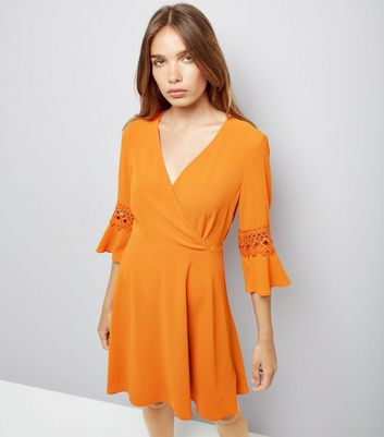 Orange Crochet Bell Sleeve Skater Dress