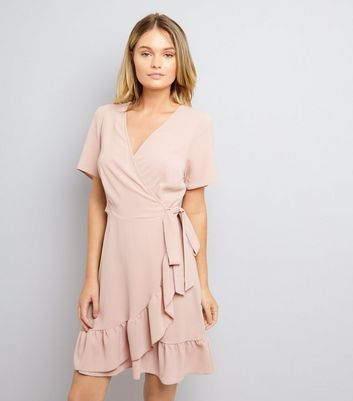 Shell Pink Frill Hem Wrap Dress