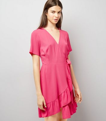 Pink Frill Hem Wrap Dress