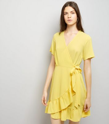 Yellow Frill Hem Wrap Dress