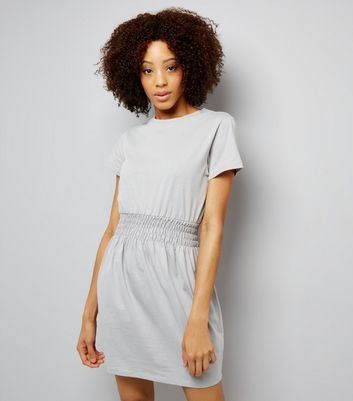Dark Grey Shirred Waist T-Shirt Dress