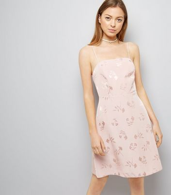 Pink Floral Jacquard Slip Dress