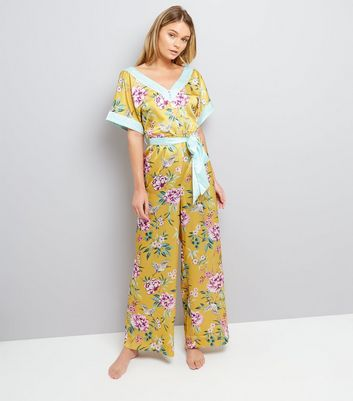 Yellow Satin Floral Lounge Jumpsuit