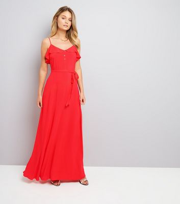 Red Frill Trim Maxi Dress