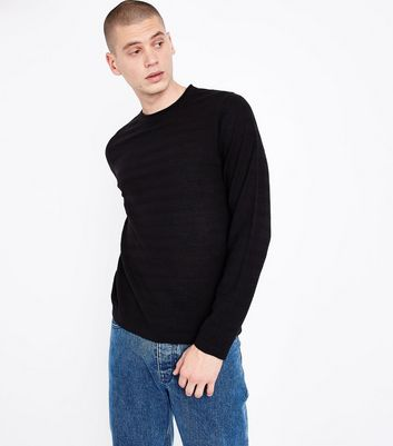 Black Ripple Stitch Crew Neck Jumper