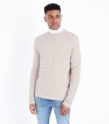 Pink Textured Stripe Crew Neck Top
