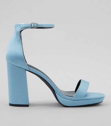 Blue Ankle Strap Block Heels