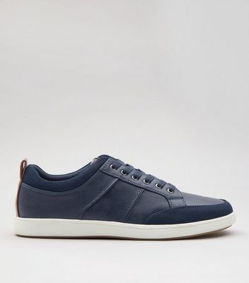 Navy Suedette Toe Lace Up Trainers