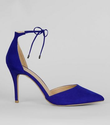 Blue Suedette Pointed Toe Ankle Tie Heels