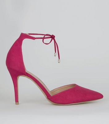 Pink Suedette Pointed Toe Ankle Tie Heels