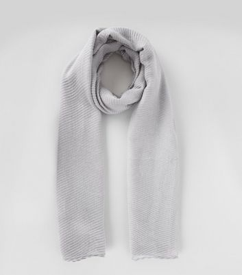 Grey Ribbed Long Line Scarf