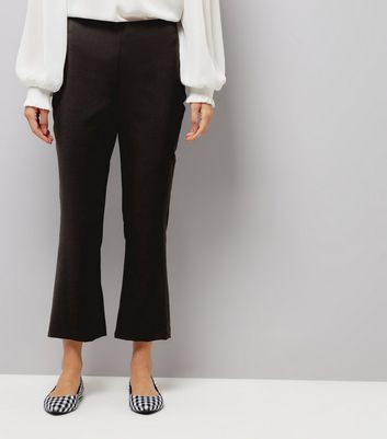 Black Kick Flared Cropped Trousers