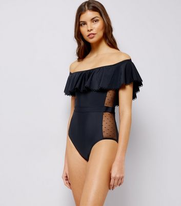 Black Bardot Mesh Side Swimsuit