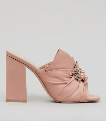 Wide Fit Pink Satin Embellished Heeled Mules