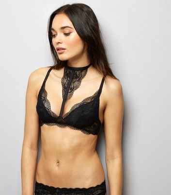 Black Lace Choker Neck Bralet