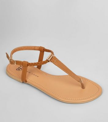 Teens Tan Plait Strap Sandals