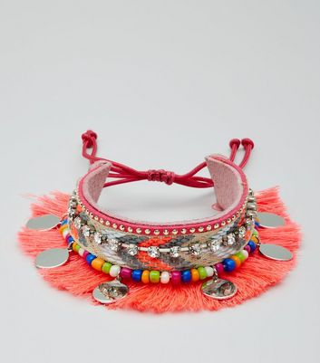 Pink Fringe and Bead Trim Anklet Arm Cuff