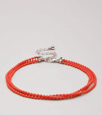 Red Layered Ball Chain Anklet