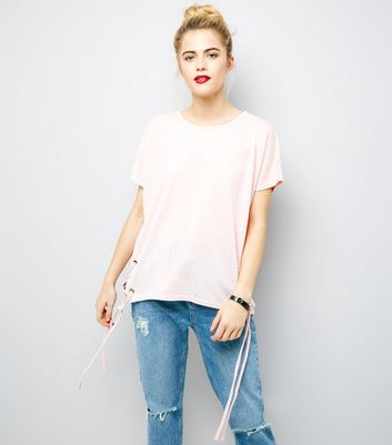 Pink Eyelet Lace Up Side T-Shirt