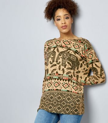 Mela Cream Elephant Print Jumper