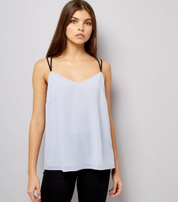 Pale Blue Lace Back Cami Top