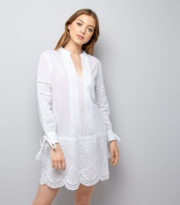 White Cut Out Tunic Dress