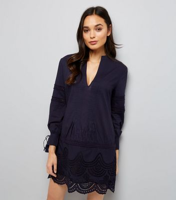 Navy Cut Out Tunic Dress