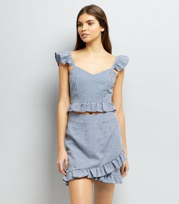 Blue Gingham Check Print Frill Trim Crop Top